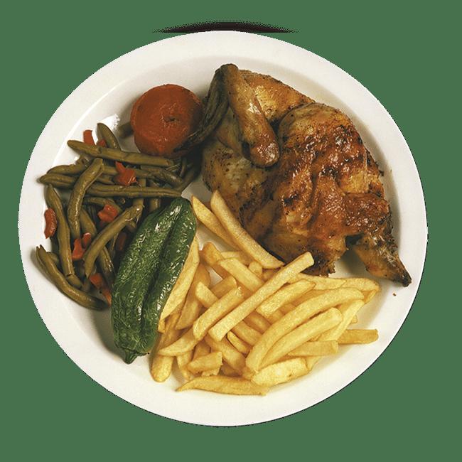 Medio pollo con patatas
